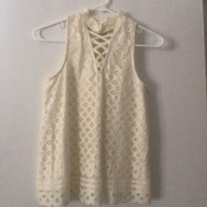 White nylon and cotton white blouse